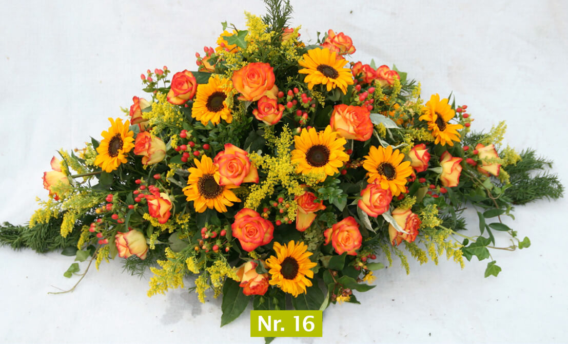 Sargbouquet gelb-orange Rothers Blumen-Paradies